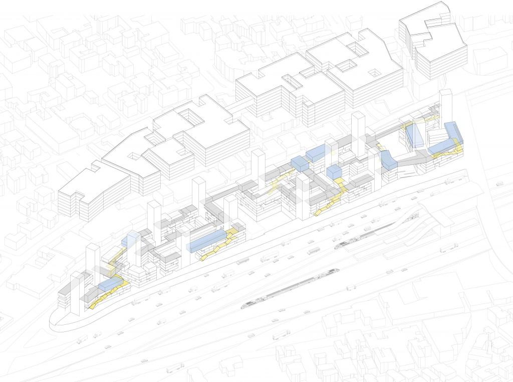 שכבת ביניים של פונקציות ציבוריות משמשת לחיבור פיזי-תוכני של המגורים והתעסוקה (מקור: נועם נוה ©)
