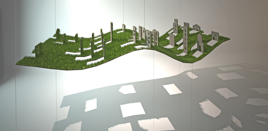 """""""רעבתנות"""" - מיצב המבטא את הדילול המתמשך במשאבי הסביבה ואת הריק הנותר לאחר התכלותם (הוצג בחלל המבואה של עיריית מודיעין, קנפו כלימור אדריכלים)"""