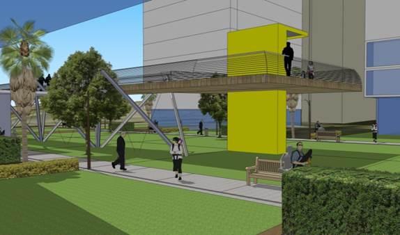 חיבור לגשר הולכי רגל, התחדשות עירונית בקרית נורדאו, נתניה.