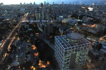 "The city of Tel Aviv. In the photo, sunset on the ""Kirya"" and the center of Tel Aviv as seen from the Azrieli building.  ???? ?? ????. ??????, ???? ????? ?? ???? ????? ????? ?? ???? ?????? ???????."