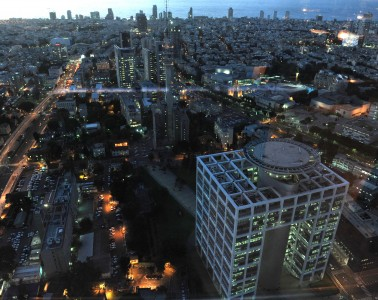 """The city of Tel Aviv. In the photo, sunset on the """"Kirya"""" and the center of Tel Aviv as seen from the Azrieli building.  ???? ?? ????. ??????, ???? ????? ?? ???? ????? ????? ?? ???? ?????? ???????."""