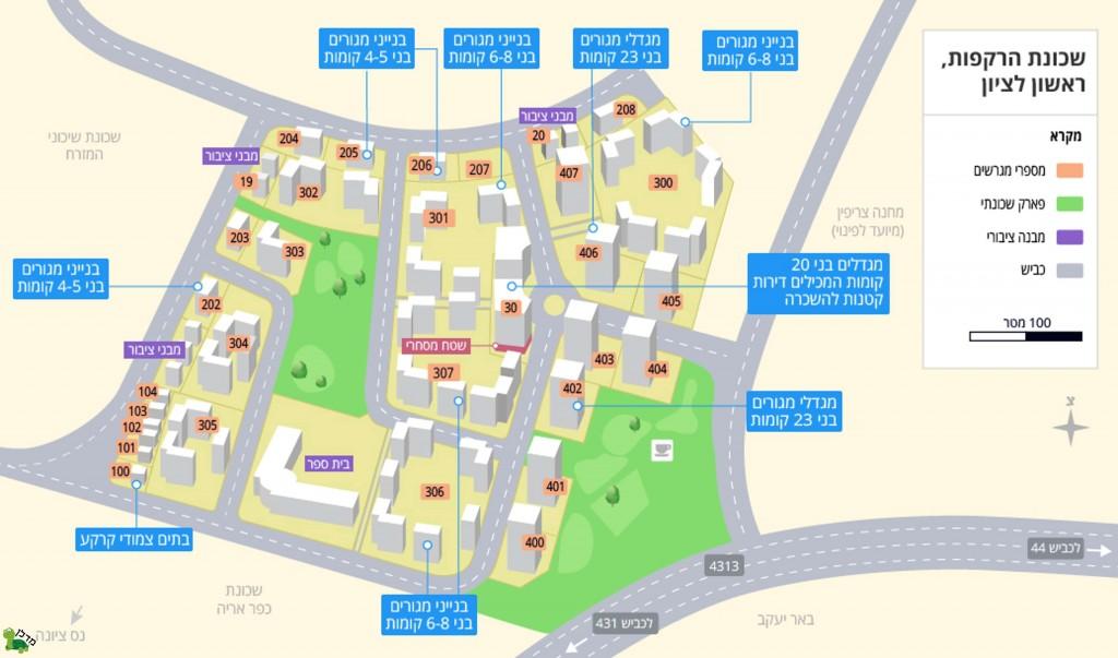 """אילוסטרציית תכנית למכירת דירות בשכונה עתידית על מתחמים 4 ו-5 של מחנה צריפין, מתוך אתר """"מדלן"""" לחיפוש נדל""""ן."""