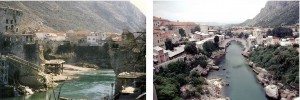 הגשר במוסטר, לפני ואחרי ההפצצה, אייקון היסטורי ומשמעותי בעיר במשך דורות (צילום: לפני- wikimedia אחרי-Pascal Hassenforder, Flickr)
