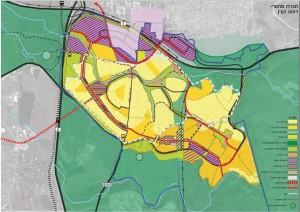 תכנית המתאר המוצעת, נעמה מליס אדריכלות. בורוד בהיר -אזור התעשייה של כפר קאסם