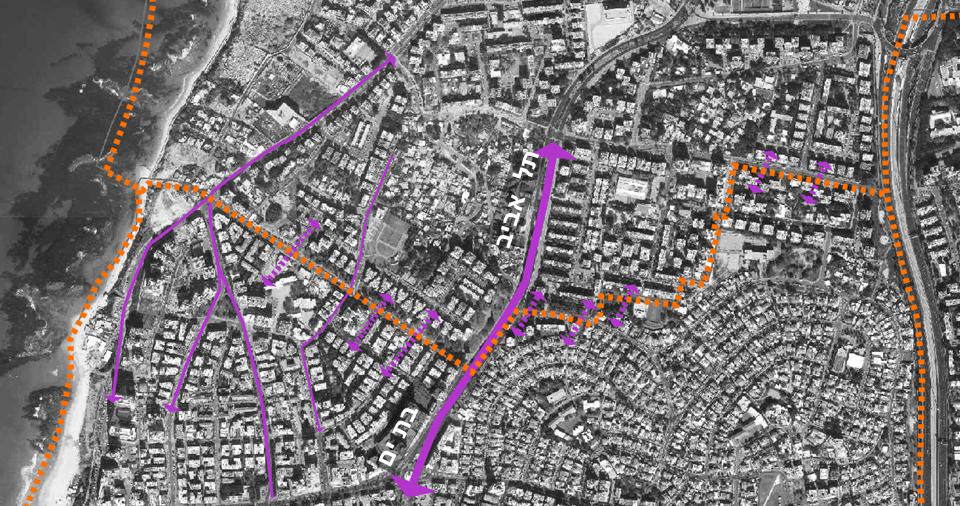 קישוריות בסביבת הגבול בין תל אביב לבת ים