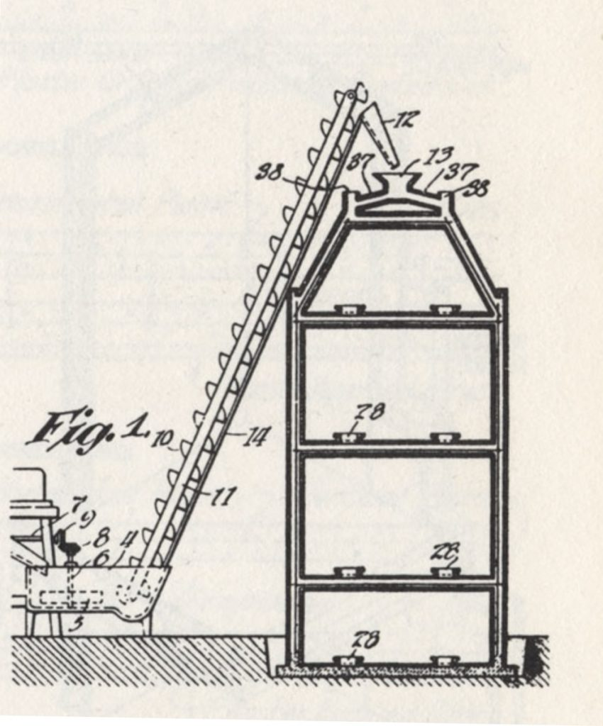 איור מתוך פטנט שפיתח תומס אדיסון החל משנות ה-1880 לבניית בתי בטון מונוליתיים במסגרת חברת ״Edison Portland Cement Company״ שהקים ב-1881. הפטנט נרשם ב-1908.