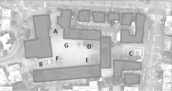 מפה 1: חלוקת הכיכר לאזורים