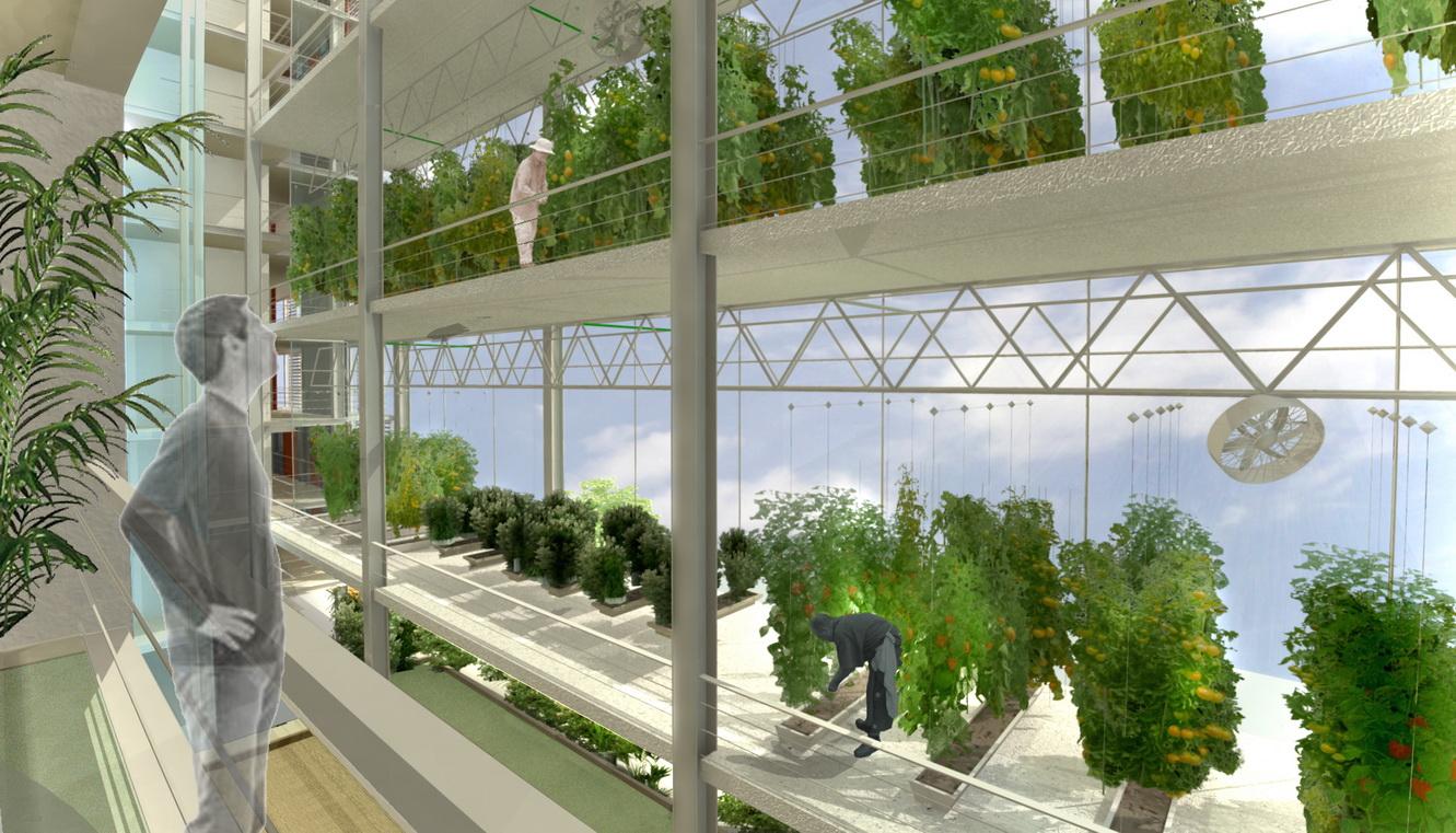 פרויקט ה- Agro-Housing  בסין, המקדם את החקלאות העירונית באמצעות שילוב חממות רב קומתיות בבנין מגורים (הדמיה: קנפו כלימור אדריכלים)