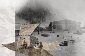 """""""המצפה הקטן"""", מיצב המציע עירוב שימושים במרחב הציבורי ברובע הבשמים מצפה רמון בתכנונם של רועי אלמן, חן ברזל ואורי נוימן. המגוון הפרוגרמאתי מיועד להחייאת המרחב לאורך שעות היום והלילה על ידי קהל משתמשים משתנה (הדמיה: מתוך הספר)"""