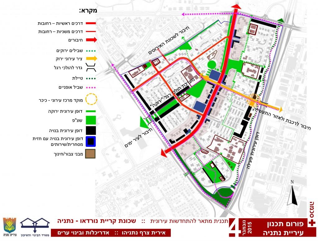 סכימה רעיונית כללית עבור תכנית מתאר להתחדשות עירונית, בשכונת קרית נורדאו, נתניה.