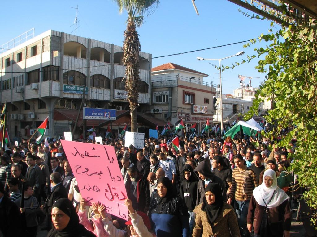 מפגינים אינם מודאגים מהמבט המפקח אלא משחקים עמו. הפגנה בבקה אל גרביה, ישראל, 2009 (צילום: טלי חתוקה)