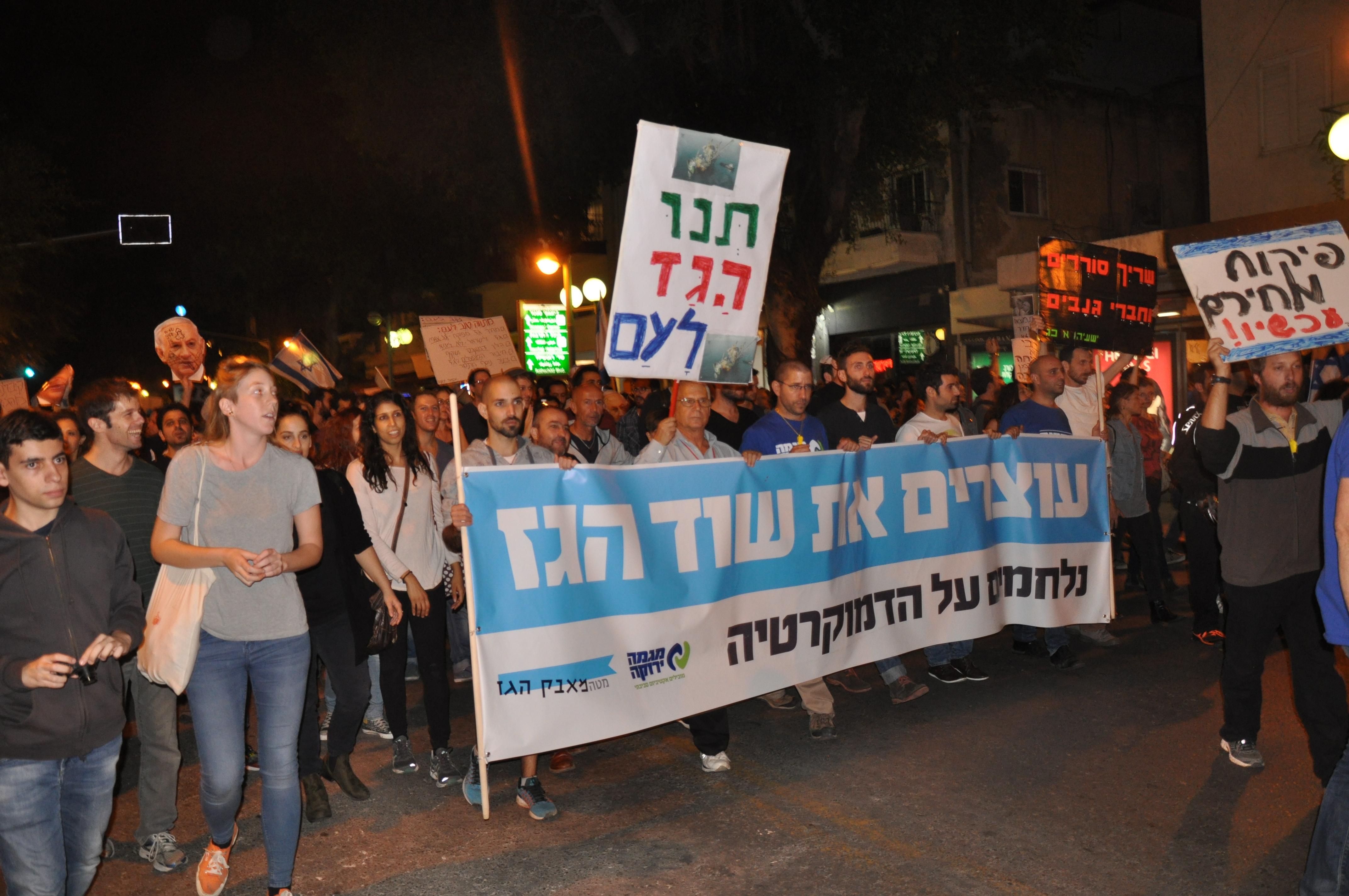 העיר כשחקן פעיל בהפגנה הפולטית. מפגינים נגד מתווה הגז, תל אביב 2015 (צילום: יונתן גת)