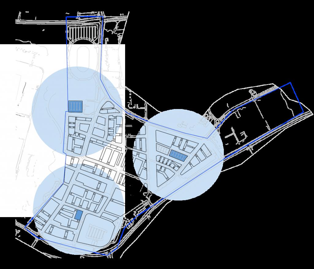 דיאגרמה של מיקום מבני החניה על חלקות עירוניות.