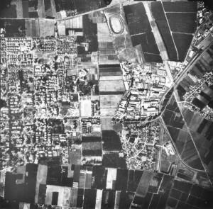 צילום אוירי משנת 1984 המראה את שימושי הקרקע הבלתי שגרתיים.