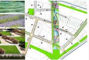 תכנון נופי מוצע לפארק המוביל הארצי של ברקן - אלחייני אדריכלים המראה את הרעיון להחזיר את ההיסטוריה החקלאית של כפר סבא.