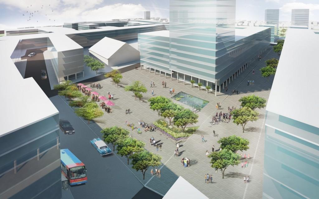 שרטוט אדריכלי של חלל אורבני חדש בצומת של הולכי רגל ושבילי אופניים