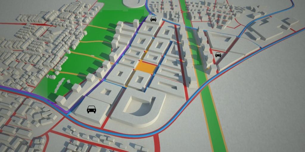 אזורים ירוקים: פארק כפר סבא ופארק המוביל הארצי. קו כחול: קוי אוטובוס חדשים דרך איזור התעשיה המקצרים את מרחק ההליכה מתחבורה ציבורית. קו סגול: קו BRT חדש המתוכנן לאיזור. קוים צהובים: שבילי הולכי רגל ואופניים חדשים. סמל מכונית: מבני חניה עיליים בהיקף. עירוב שימושים לאורך הפארק והמוביל הארצי הכולל יחידות דיור מעל קומות מסחר ומשרדים.