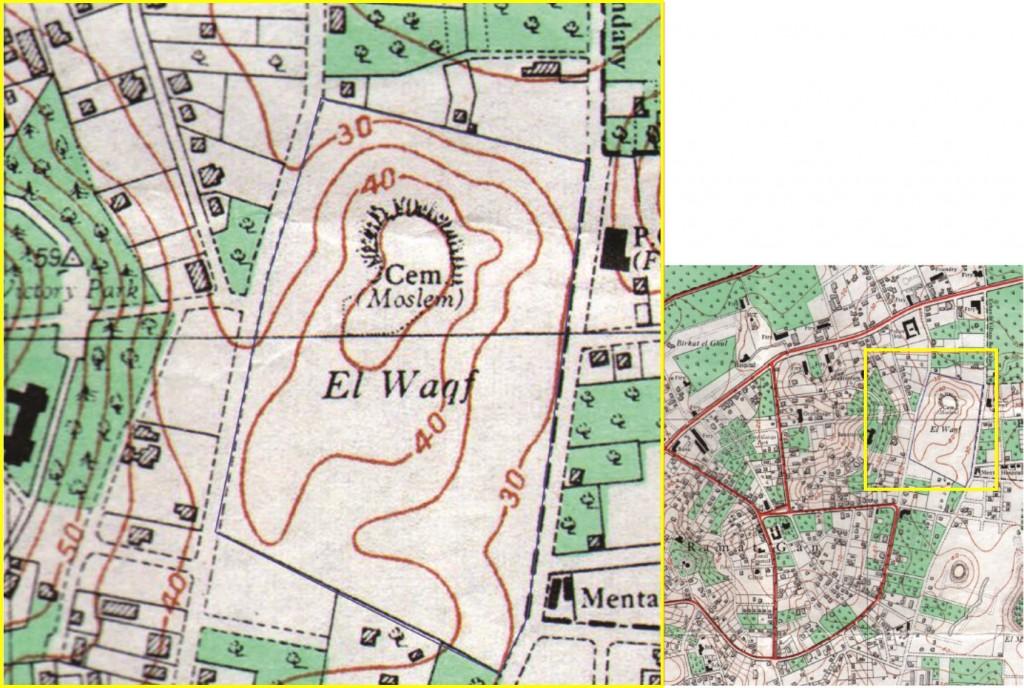 """מפת מחלקת המדידות (אוקטובר 1946). השטח מסומן במפה כבית קברות מוסלמי בבעלות הווקף ותחום בדרום ומצפון (בקווים מלאים). ממערבו מסומנת דרך (יהל""""ם/קריניצי) וממזרח קצה גבול עירוני (בקווקו עבה). מתוך ארכיון יד אבנר בתוך סקר מבנים לשימור – של אדריכלית נעה שק 2013."""