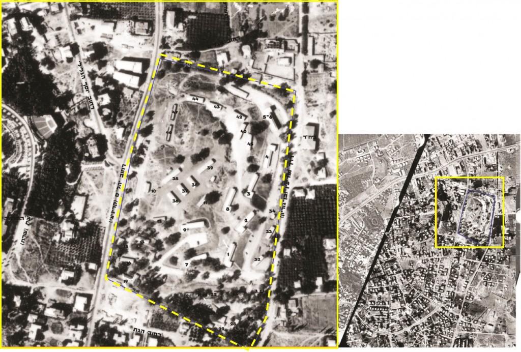 תצלום אוויר ראשון של מחנה המטה הכללי, כחמישה חודשים לאחר איושו על ידי יחידות המטה הכללי (6 באוקטובר, 1949). המרכז למיפוי ישראל בתוך סקר מבנים לשימור – של אדריכלית נעה שק 2013.