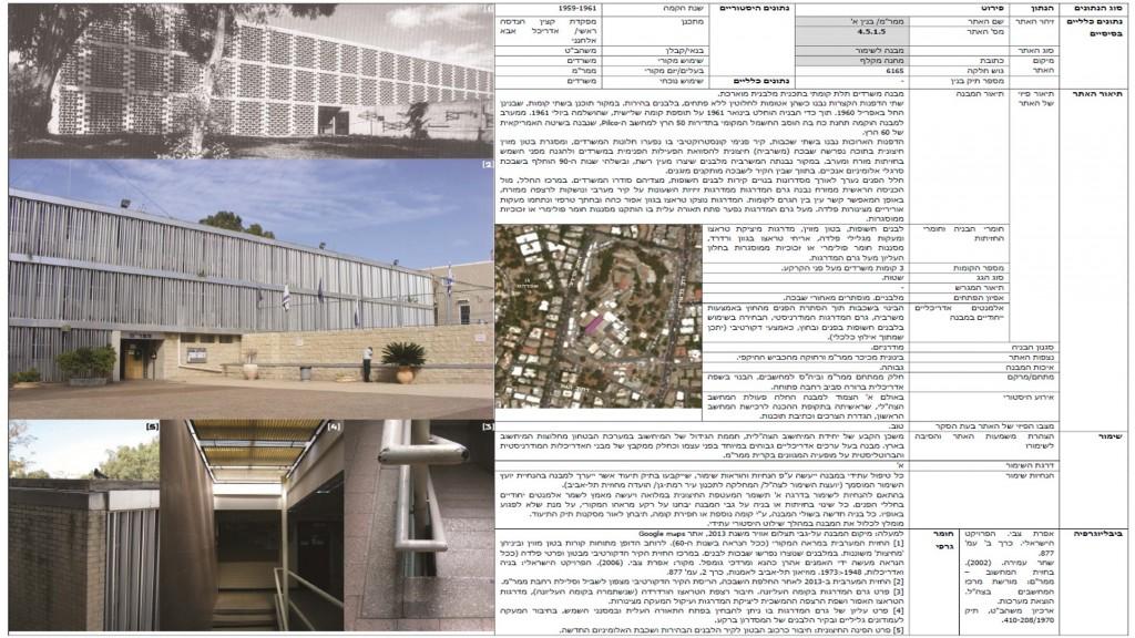"""כרטיס שימור של מבנה ממר""""ם – בנין א', מבנה בדרגת שימור א' בתכנון אדריכל אבא אלחנני. מתוך סקר מבנים לשימור – מחנה מקלף של אדריכלית נעה שק, אפריל 2013."""