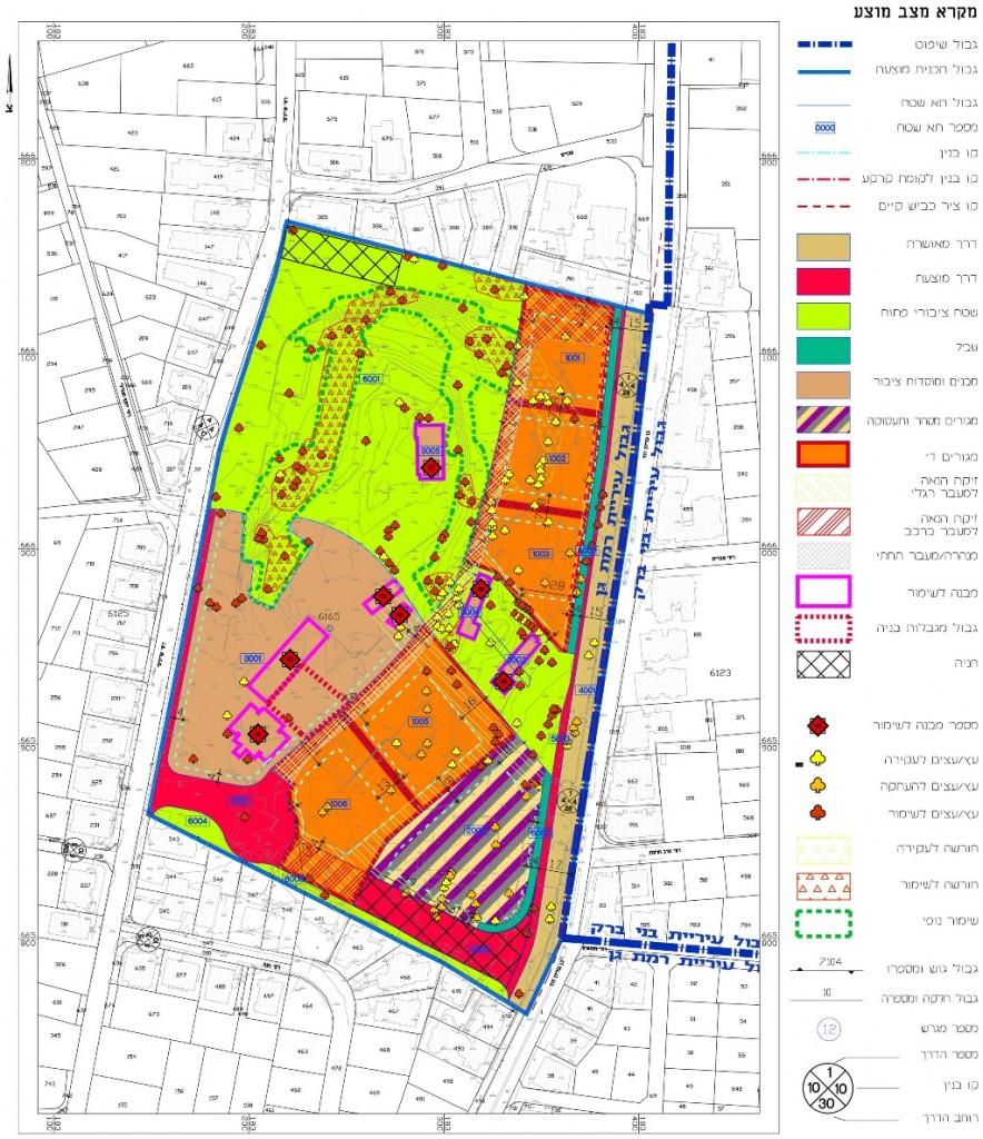 תשריט מצב מוצע, תכנית מתאר מקומית רג/1163/א, גרסה מספר 7 (28 ביוני, 2015). בתכנון אדריכל אריה קוץ – ניר קוץ אדריכלים, מתוך רשות מקרקעי ישראל, מאגר תוכניות בנין עיר.
