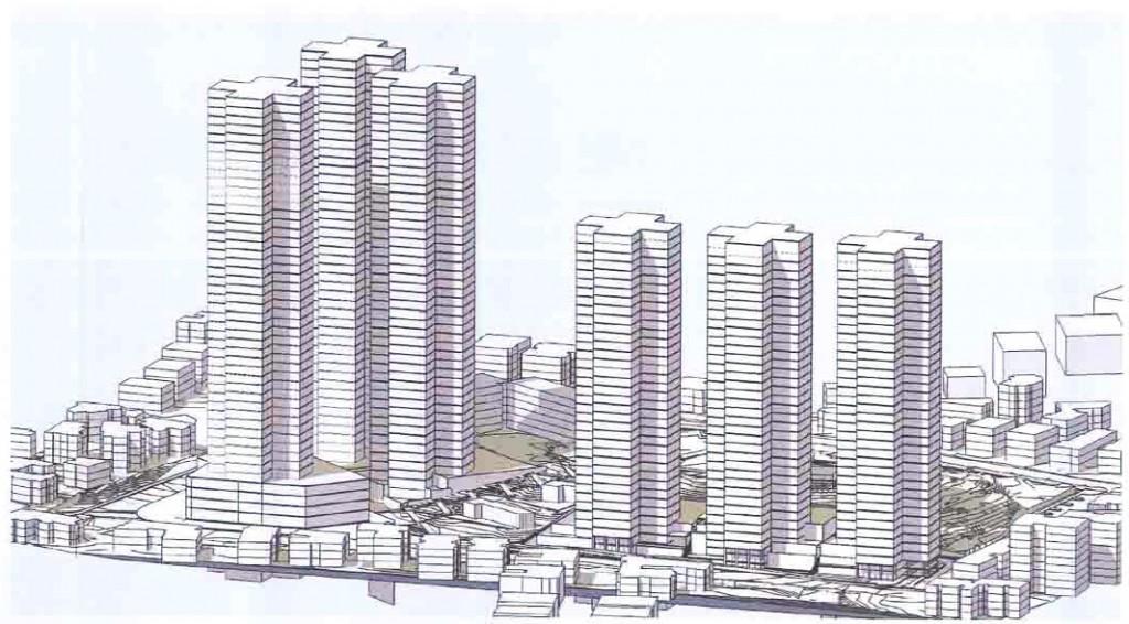 מבט פרספקטיבי ממזרח בתכנון אדריכל אריה קוץ – ניר קוץ אדריכלים, מתוך רשות מקרקעי ישראל, מאגר תוכניות בנין עיר , נספח בינוי לתכנית מתאר מקומית רג/1163/א, גרסה מספר 7 (28 ביוני, 2015).
