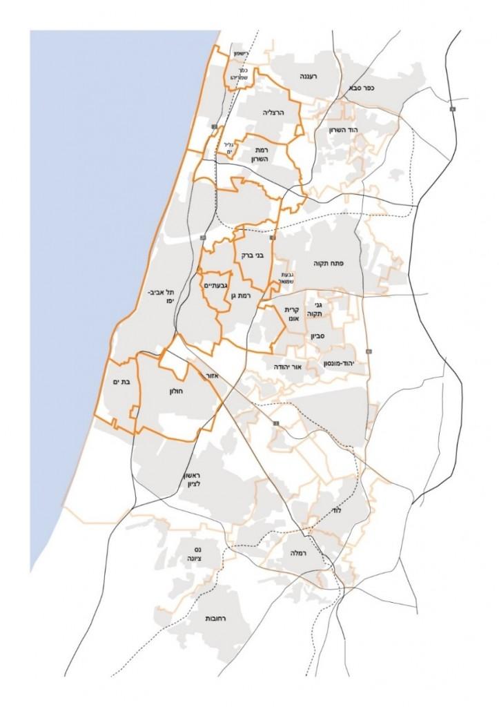 איור 3. מפת הערים הנבחנות במחקר במישור השיח במטרופולין תל אביב