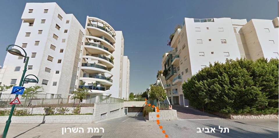 קישוריות בסביבת הגבול המבונה בין תל אביב לרמת השרון
